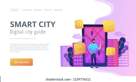 A man near huge LCD screen with city map and gps tags on the screen getting information about the city. Smart city and digital city guide landing page. Violet palette. Vector illustration.