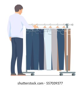 Man near rack with pants. Vector isolated illustration on white background