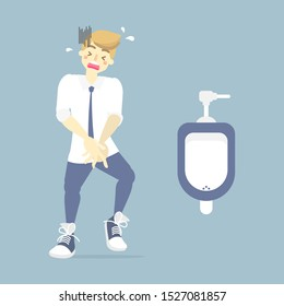 man needing to urinate and holding his pee, health care concept, health care, sanitation, incontinence concept, flat character design clip art vector illustration cartoon