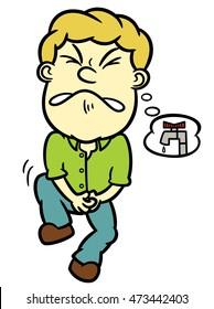 Man Needs to Pee Cartoon