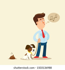 A man not cleaning his dog shit on street. Pet owner ignores dog excrements. Vector illustration, flat design, cartoon style. Isolated background.