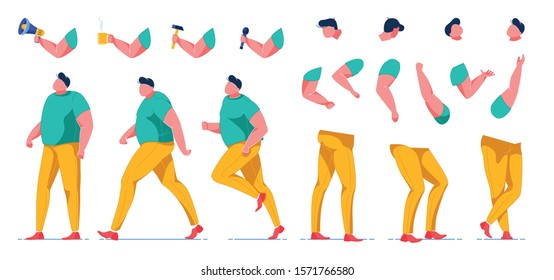 Man with Obesity Constructor Flat Cartoon Vector Illustration. Male Creation with Hands Holding Cup, Microphone, Hammer, Megaphone. Worker Performing Different Jobs. Yellow Trousers, Green Tshirt.