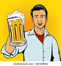 Man offers beer cup pop art style vector illustration. Comic book style imitation