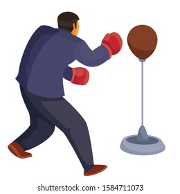 a man in office clothes is standing back to us and beating a sports punching bag with boxing gloves, aggression, defense, attack, isolated object on a white background, vector illustration