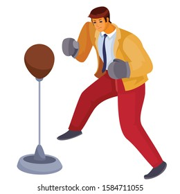 a man in office clothes stands in front of us and hits a sports punching bag with boxing gloves, aggression, defense, assault, isolated object on a white background, vector illustration