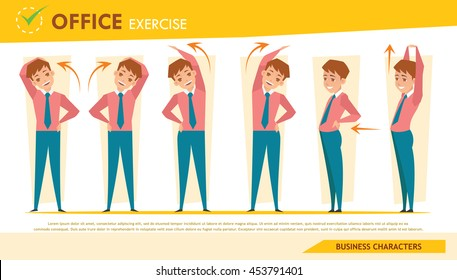 man office syndrome info graphic and stretching exercise set 2