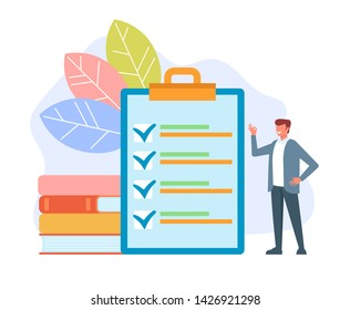 Man office worker businessman making to do list done and showing ok sign. Management concept. Vector flat cartoon graphic design isolated illustration