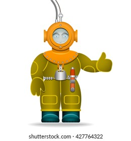 A man in an old diving suit. Underwater helmet. Isolated object. Cartoon character. Vector Image.