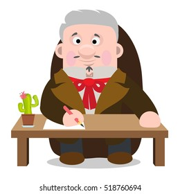 Man in an old suit sitting at the table. Lawyer, a family doctor at work. Cartoon characters.