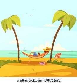 Man on the beach background with hammock hat radio and palms cartoon vector illustration