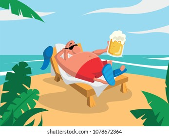 man on the beach drinking beer