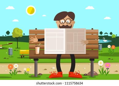 Man on Bench in Park Reading Newspapers with Coffee.