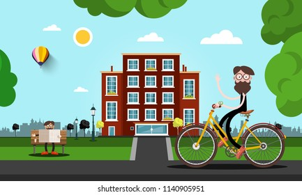 Man on Bicycle with Building on Background. Vector City Park Illustration.
