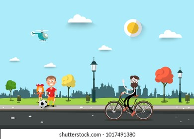 Man on Bicycle with Children on Sidewalk. Flat Design City Park Life Scene. Sunny Day Urban Landscape.
