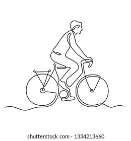 Man on bicycle continuous line vector illustration