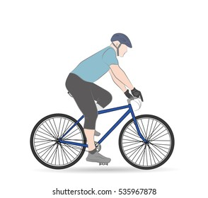 man on a bicycle. correct fit and posture for cycling. vector illustration.