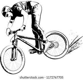man on bicycle - monochrome illustration