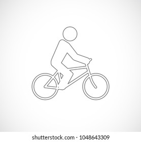 man on bicycle outline icon