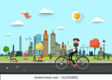 Man on Bicycle on Street with People on City Park on Background. Urban Vector Landscape Scene.
