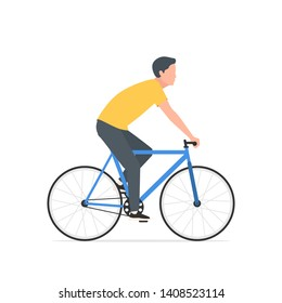 A man on a Bicycle. The young man on the bike looking forward, side view. Vector illustration of character design in flat style isolated on white background