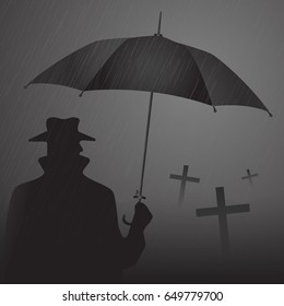 The man on the cemetery in the rain. Vector images for illustration and design