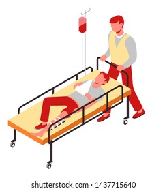 Man on gurney with dropper injury and pain first aid bone fracture vector blood transfusion paramedic and patient saving life and rescuing hospital push trolley medicine and healthcare traumatology.