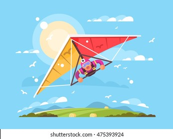 Man on a hang glider
