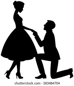 Man on his knees makes a proposal to marry the woman vector illustration