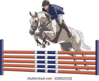 A man on a horse is jumping over an obstacle.
