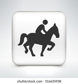 Man on a Horse on White Square Button