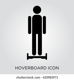Man on hover board. Hoverboard Icon. Gyroscooter icon. Hoverboard sign. Hover board. Electric two wheele balance board. Vector hoverboard. Flat icon hoverboard. Vector illustration
