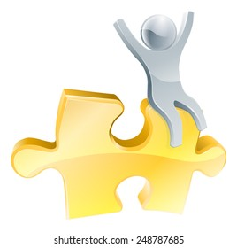 Man on jigsaw piece concept of a happy mascot man with arms raised seated on a jigsaw piece
