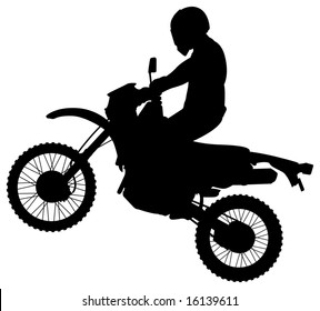 Man on a Jumping Dirt Bike Silhouette