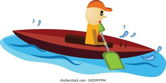 A man on a kayak rode the sea