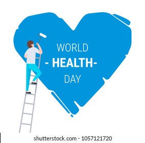 A man on a ladder are holding a roll brush and painting a big blue heart with text. World health day concept. Vector flat illustartion