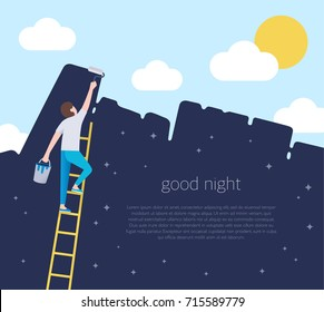 A man on a ladder are holding a roll brush and painting over the blue sky of the night starry sky. Good night concept illustration. Allegory the change of time of day. flat style place for your text.