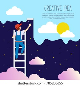 A man on a ladder are holding a roll brush and painting over the blue sky of the night starry sky, flat style place for your text.