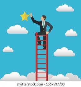 Man on ladder reaching for stars