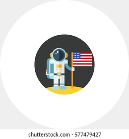 Man on Moon with USA Flag Icon