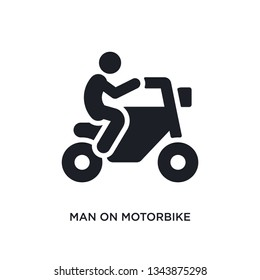 man on motorbike isolated icon. simple element illustration from ultimate glyphicons concept icons. man on motorbike editable logo sign symbol design on white background. can be use for web and