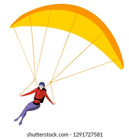 Man on paraglider isolated on white background, paragliding flat vector illustration