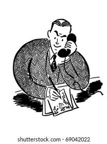 Man On The Phone 2 - Retro Clipart Illustration