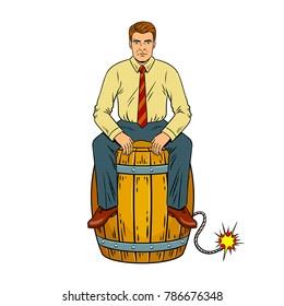 Man on powder keg pop art retro vector illustration. Isolated image on white background. Comic book style imitation.