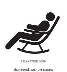 A Man on Rocking Chair Icon. relaxation concept. vector, sign, symbol
