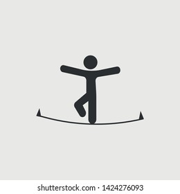 Man on rope vector icon illustration sign