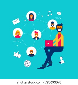 Man on social media network app interacting with followers, internet influence concept illustration in modern flat art style. EPS10 vector.