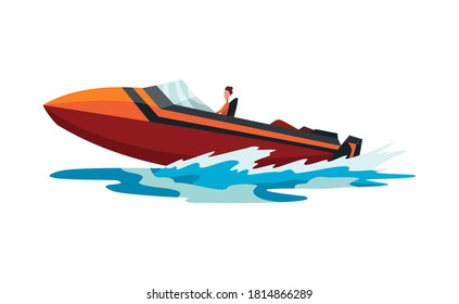 Man on speed motorboat. Sea or river vehicle. Sport nautical summer transportation. Motorized water vessel on sea water waves. Isolated on white background
