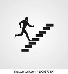 man on stairs going up icon