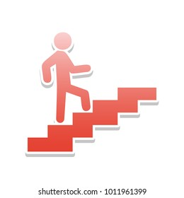 Man on Stairs going up. Vector. Reddish icon with white and gray shadow on white background. Isolated.