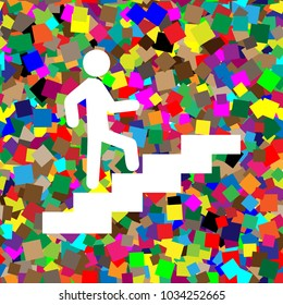 Man on Stairs going up. Vector. White icon on colorful background with seamless pattern from squares.